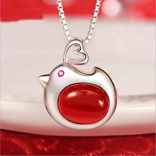 New Arrival Atmosphere 925 Sterling Silver Jewelry Red Festive Beautiful Chicken Recall Red Female Pendant Necklace H278