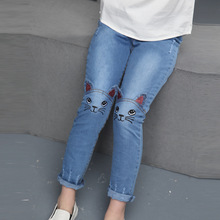 Kids Girls Pants 2017 Spring Autumn Fashion Casual Style Cotton Embroidery Pencil Pants Children's Girls Clothing Jeans