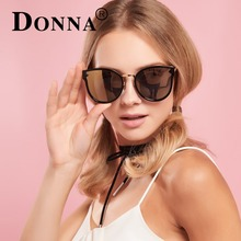 DONNA Fashion Cat Eyes Sunglasses Polarized Round Style Ladies Luxury  Retro  Circle Shades Sunglasses For Women D10
