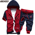 2017 men fashion casual suit male hooded cardigan tracksuits short sleeve printed hoodies shorts chandal hombre