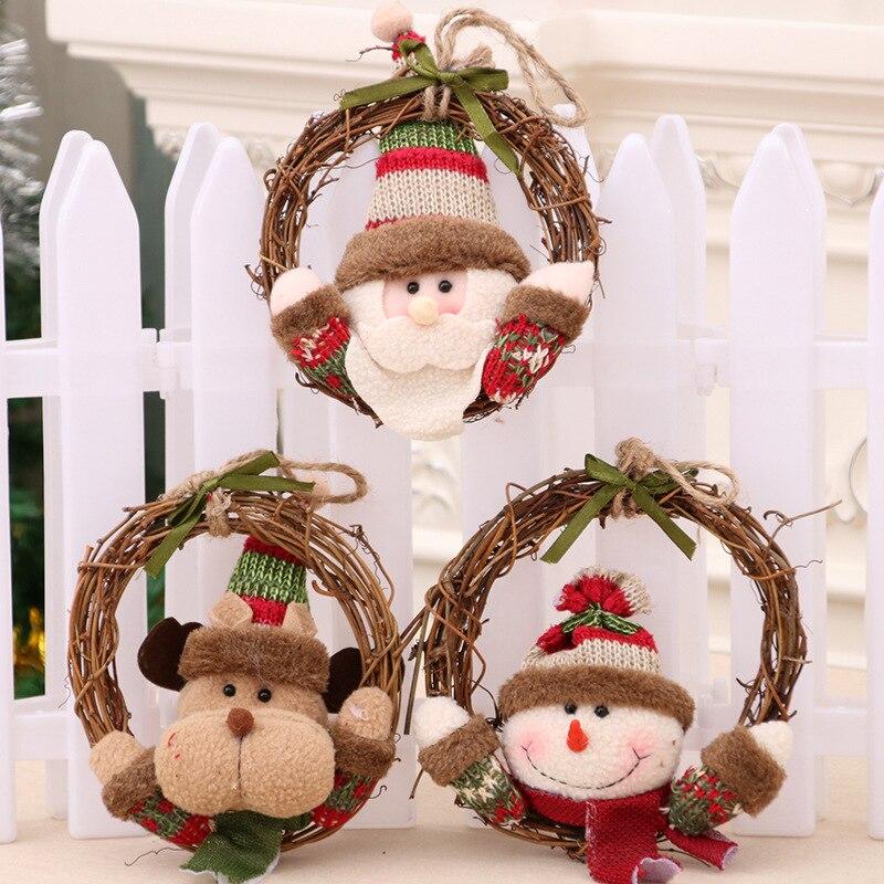 16cm christmas decorations wreath rattan circle navidad for Decoraciones de navidad para el hogar