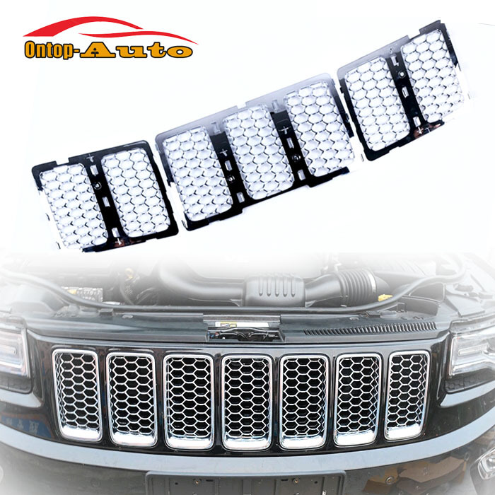 7pcs Chrome Silver Insert Front Mesh Grille Grill For Jeep Grand Cherokee 2014 mesh insert slim tee