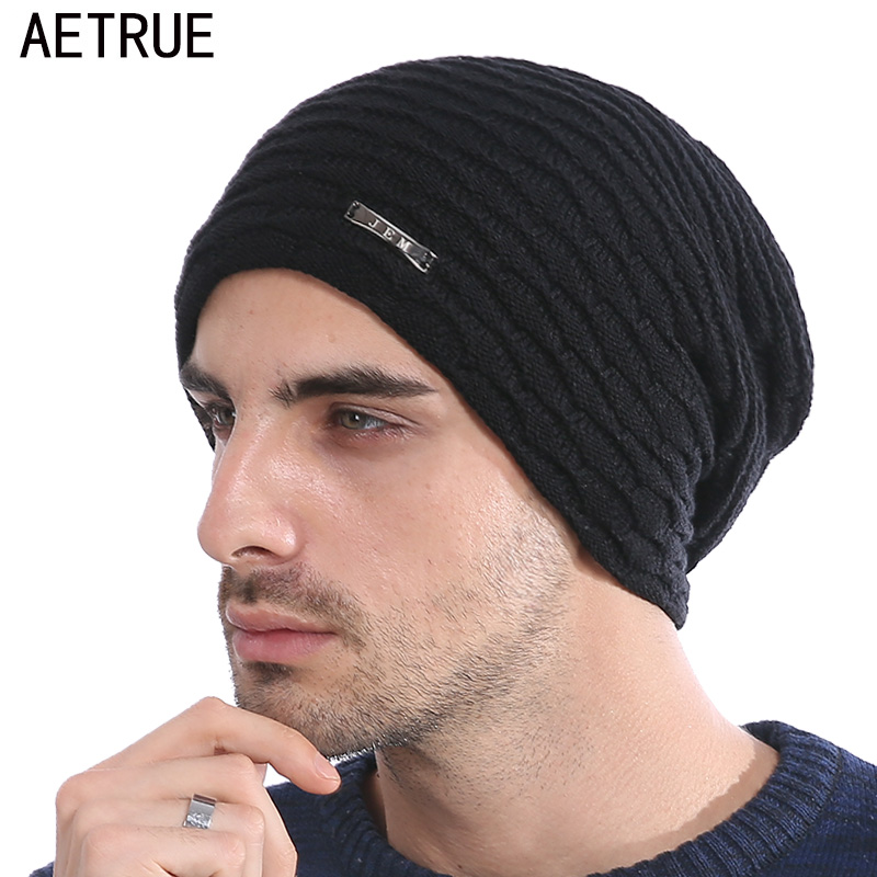 AETRUE Knitted Hat Men Winter Beanie Caps Women Warm Baggy Bonnet Mask Wool Blalaclava Skullies Winter Hats Beanies For Men Hat