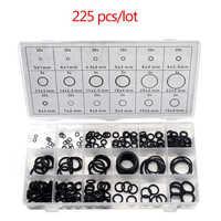 225 pcs/lot joint torique en caoutchouc noir assortiment joint d'étanchéité joint torique Kit 18 tailles avec boîte en plastique