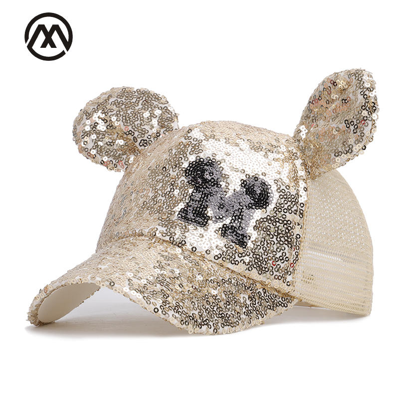 Cute Mickey Sequin Childrens Baseball Caps Boys Girls Universal Adjustable High Quality Outdoor Shade Summer Net Hats Mesh Bone Let Our Commodities Go To The World Men's Hats