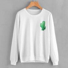 2017 # FASHION Women Printing Cactus Hoodie Sweatshirt Jumper  Crop Pullover Tops Y92930