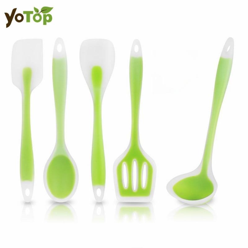 YOTOP 5Pcs/Set Kitchen Utensils Heat-Resistant Cooking Utensil Set Non-Stick Hygienic So ...