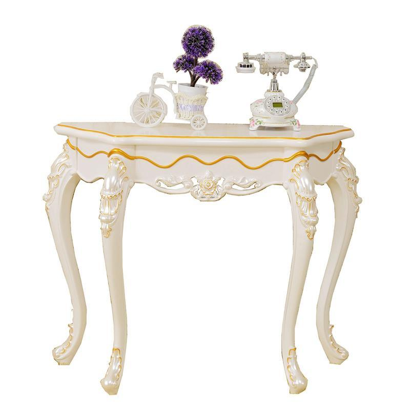 European hollow carved French pastoral entrance hall semi-circular corridor porch table by the wall the ivory white european super suction wall mounted gate unique smoke door