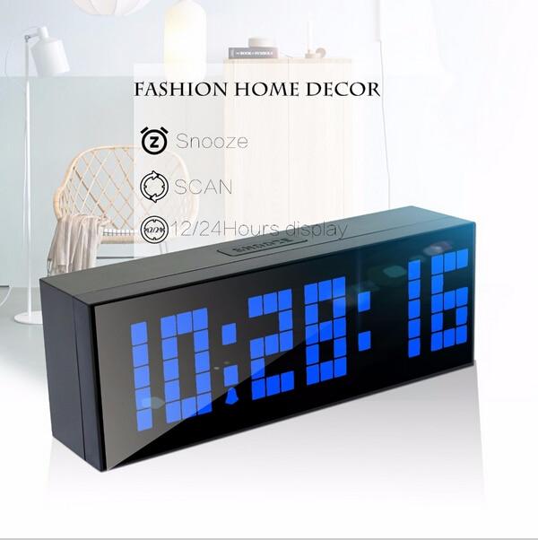 Niebieska dioda LED odliczający zegar cyfrowy z funkcją drzemki - Wystrój domu - Zdjęcie 4