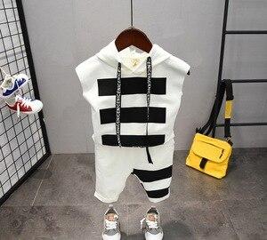 Image 4 - תינוק בני בגדי סטי קיץ כותנה מכתב מודפס ילד סטי 2PCS T חולצה + ילדי מכנסי חליפת 2 6years