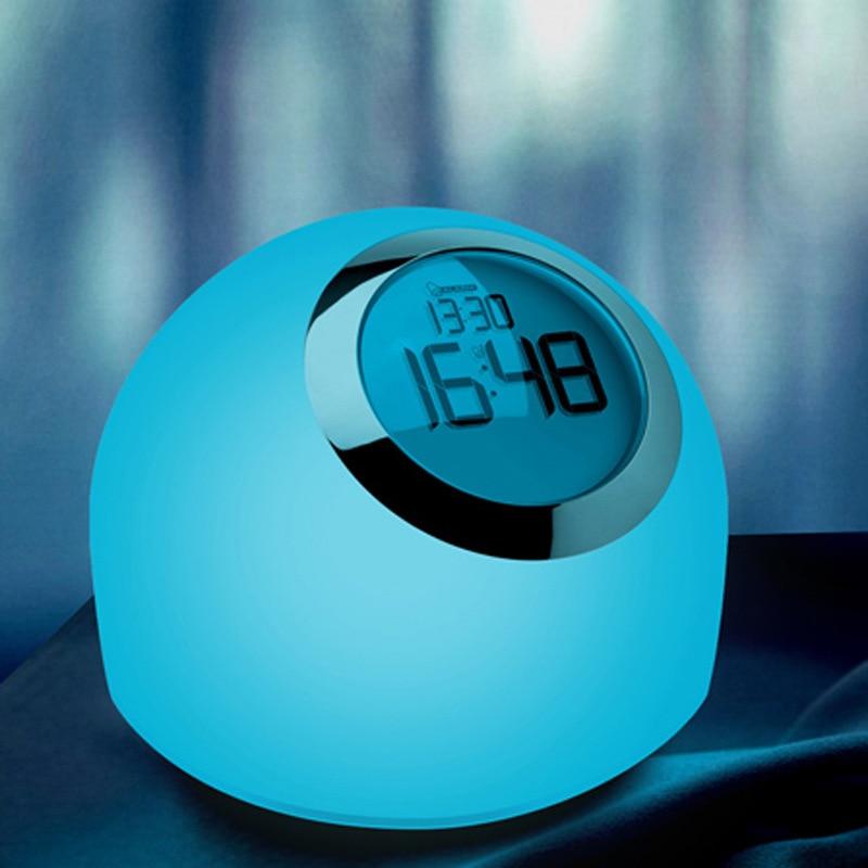 Multi Color Led Mood Lamp Light With Digital Alarm Clock