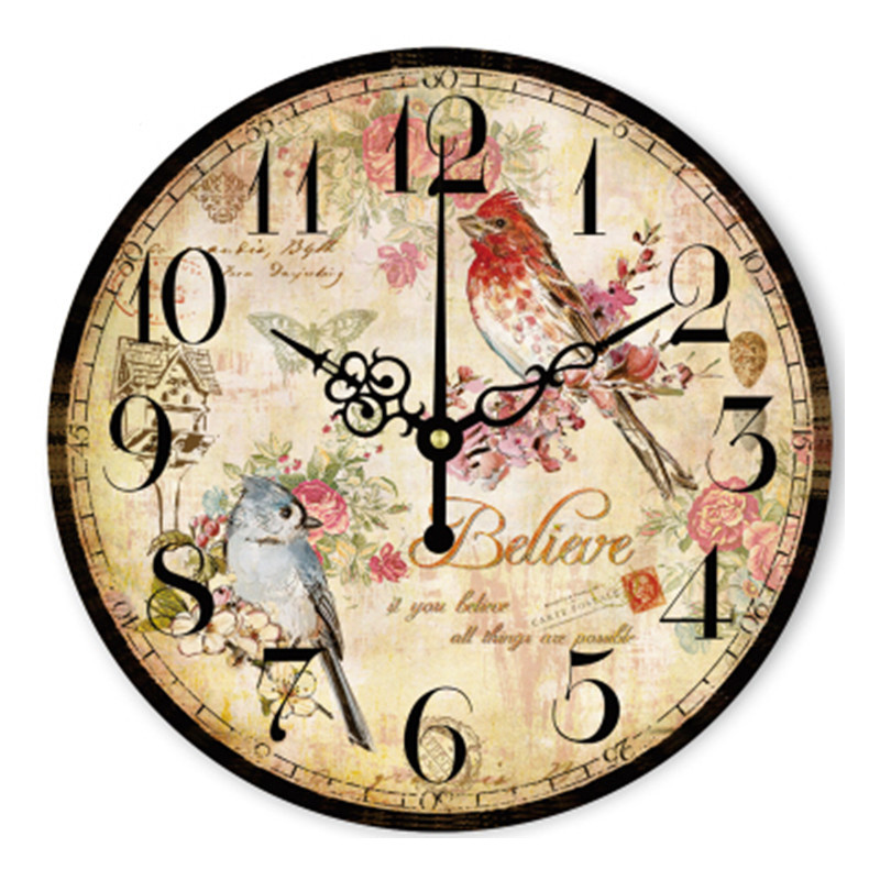 Personality Wall Clock Home Decoration 14 Inch Birds Rose Flower Garden In Spring Large Wall Clocks for The Living Room Bedroom