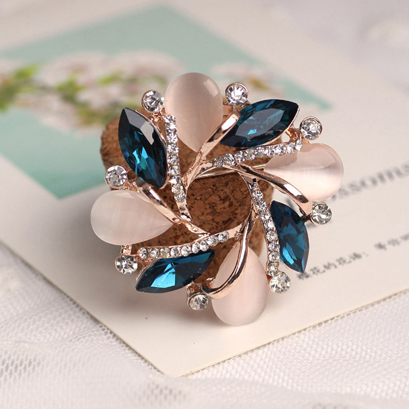 Bauhinia Of Rose Gold Opal Series Brooch Pin Fashion Rhinestone Badge Pin Christmas Gift broches rozet pins brooch Accessories
