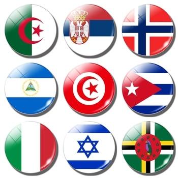 Магниты на холодильник с национальным флагом (Tunisia, Cuba, Serbia, Italy, Algeria, Israel, norwean, Dominica, Nicaragua) 30 мм магнит на холодильник