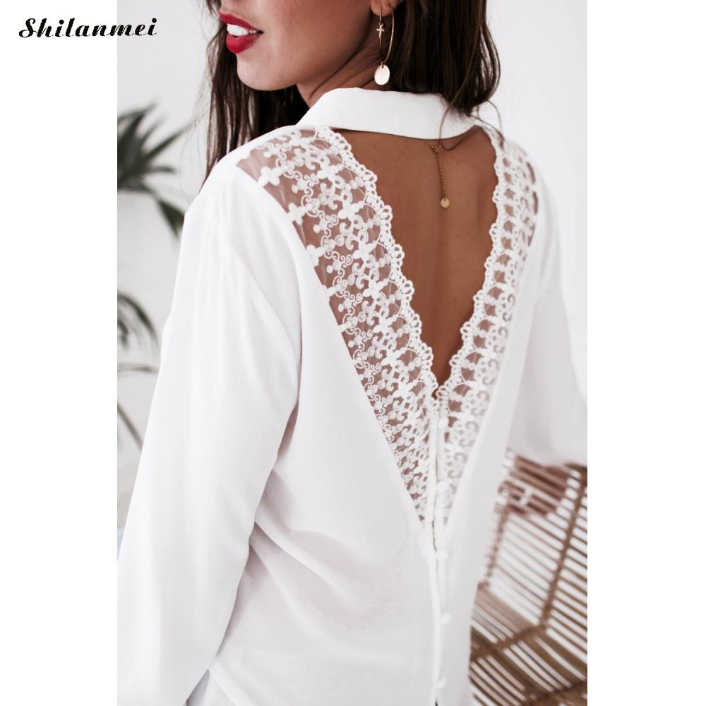 Elegant Women Long Sleeve Blouses White Hollow Back Lace backless Deep V Neck Slim Stylish Trendy Pull Femme Tops Blusas Female