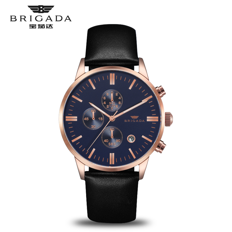 Brigada 3017G Quartz Watch Watches Waterproof Casual Fashion Style Genuine Leather Strap 3 Dials with Calendar цена