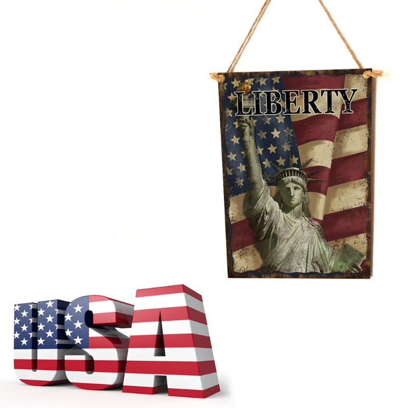 Image 2 - Vintage Wooden Hanging Plaque Liberty Sign Board Wall Door Home Decor Independence Day Party Gift-in Plaques & Signs from Home & Garden