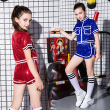 New childrens stage performance girls sequins jazz dance hip-hop costume team clothing
