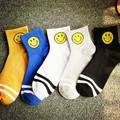 Smiley Face Cartoon Socks Cotton Retro Two Bars Sock Blue Black College Wind The Short Tube 2016 Fashion Pattern Design Socks