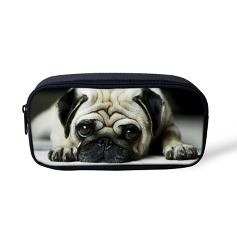 Noisydesigns Cute Animal Pug Dog Print Children Pencil Bags Casual Small Pen Pouch For Kid Girls Women Travel Makeup Cometic Bag