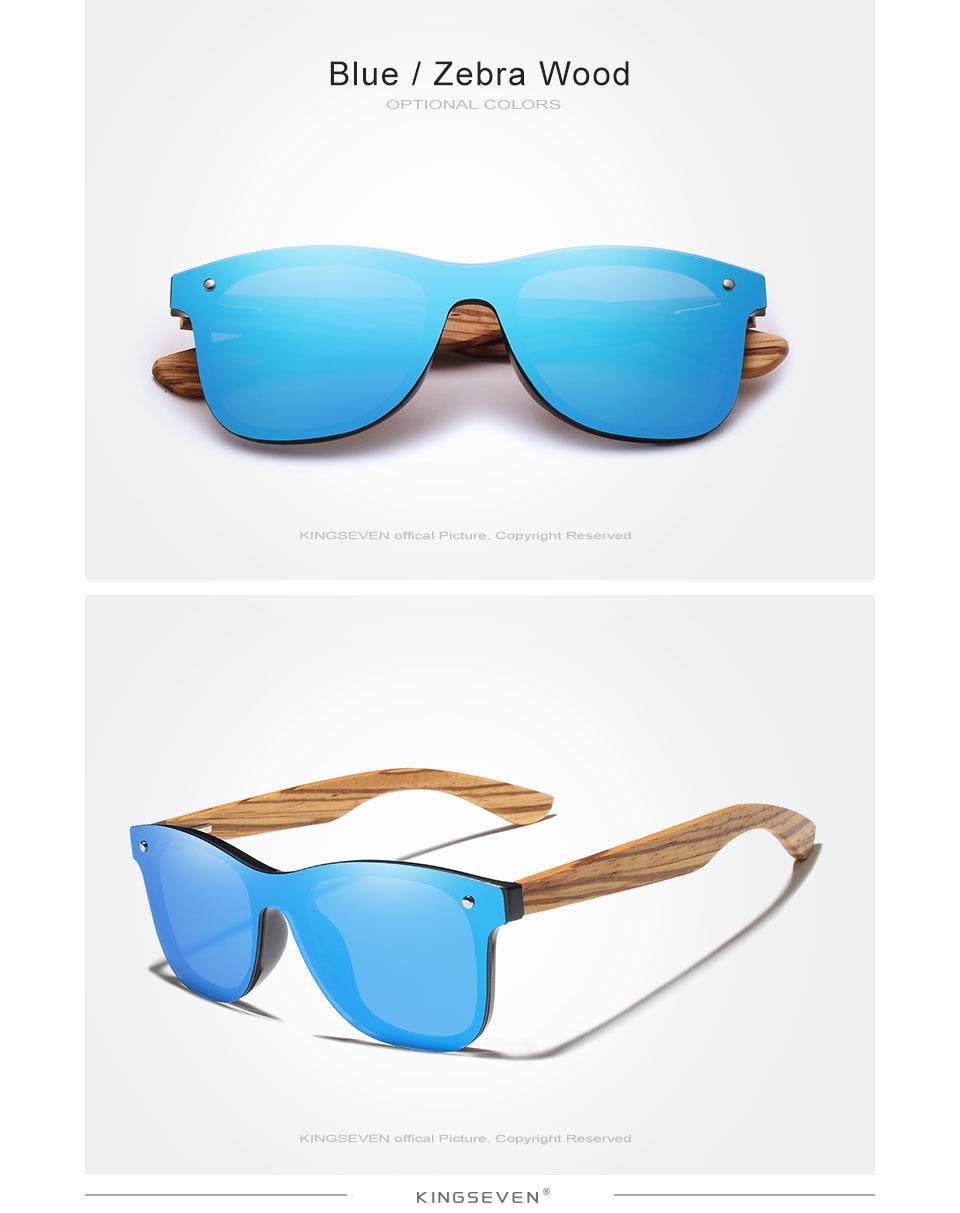 KINGSEVEN 2019 Polarized Square Sunglasses Men Women Zebra Wooden Frame Mirror Flat Lens Driving UV400 Eyewear