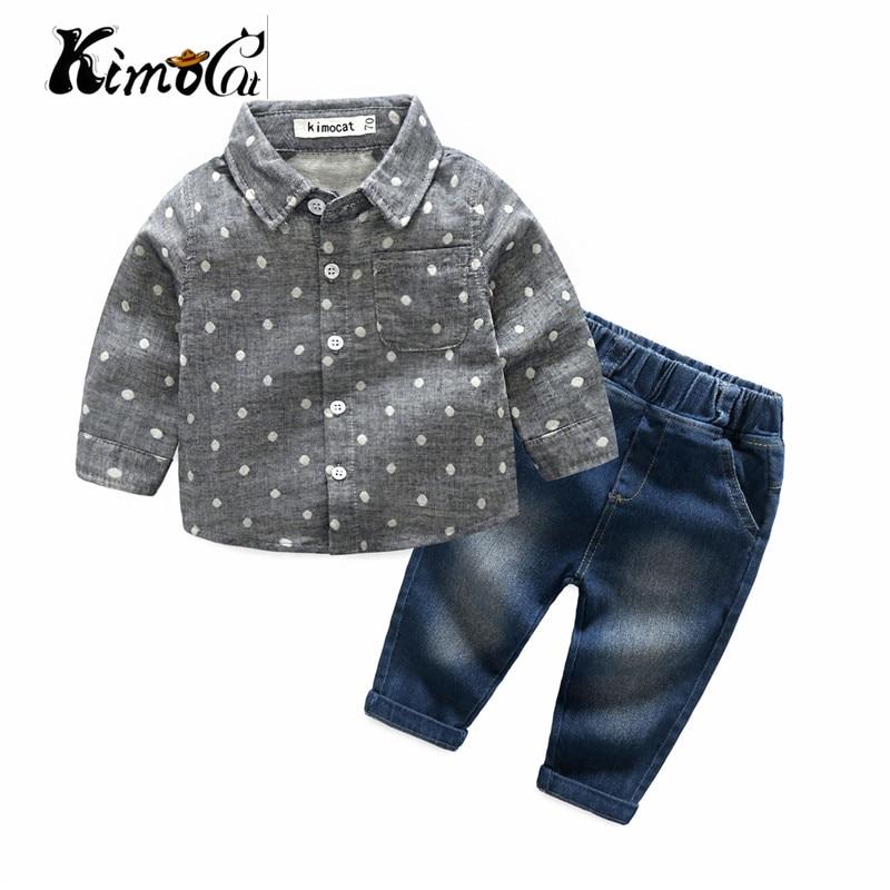 kimocat new High quality baby boy clothes Spring and Autumn long-sleeve fashion polka-dot lapel shirt + denim pants