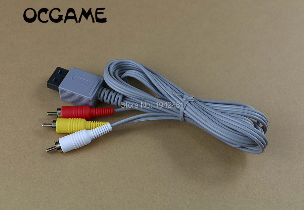 Good quality,New For Audio Cord Nintendo Wii Game 1.8m Video AV Composite 3-RCA Cable Console
