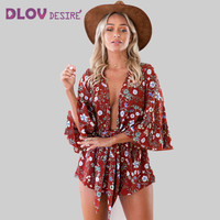 Lace Up Boho Red Floral Print Ruffles Playsuits Women Elegant V Neck Jumpsuits Rompers Sexy Beach