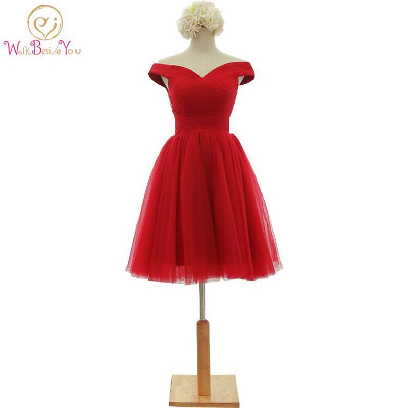 Walk Beside You Short Prom Dresses 2019 Elegant A-Line Red Prom Dress Gown Formal Party Dresses Evening Gowns Vestido De Festa