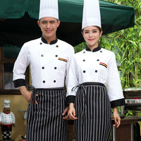 New Hotel Chef Uniform Double Breasted White Jakcet Long Sleeved Chef Jacket Restaurant Waiter Kitchen Uniform Cooking Clothes
