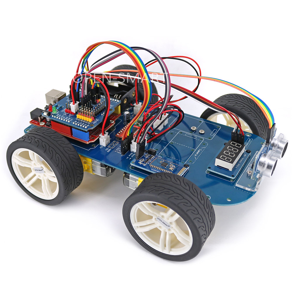 OPEN-SMART 4WD Serial Bluetooth Control Rubber Wheel Gear Motor Smart Car Kit with Tutorial for Arduino UNO R3 Nano Mega2560 doit uno starter kit for smart car chassis with arduino uno r3 board l298n motor drive shield tracking module dupont line