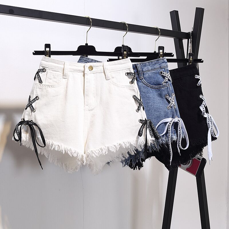 Harajuku Vintage Tassel Denim   Shorts   Women Lace Up Jeans Cute Hot   Shorts   Streetwear Casual Party   Shorts   Female