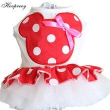 Новые модные платья для животных, милые красные платья в горошек с изображением Микки Мауса, собачки, размер йоркйоркширский пудель, костюмы на весну и лето