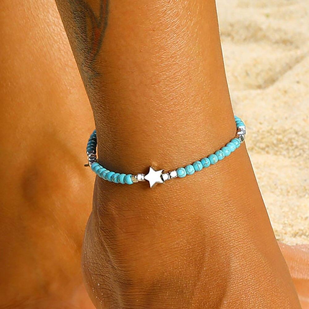 FAMSHIN 2021 Boho Anklets For Women Girls Stars Chains On Leg Bule Stone Leg Bracelet Summer Beach Accessories Barefoot Jewelry