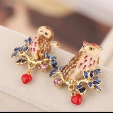 Les Nereides Enamel Bird Flowers Open Bracelet Earring Bangles For Women Beautiful Owl Romantic Party Bracelets New 2017