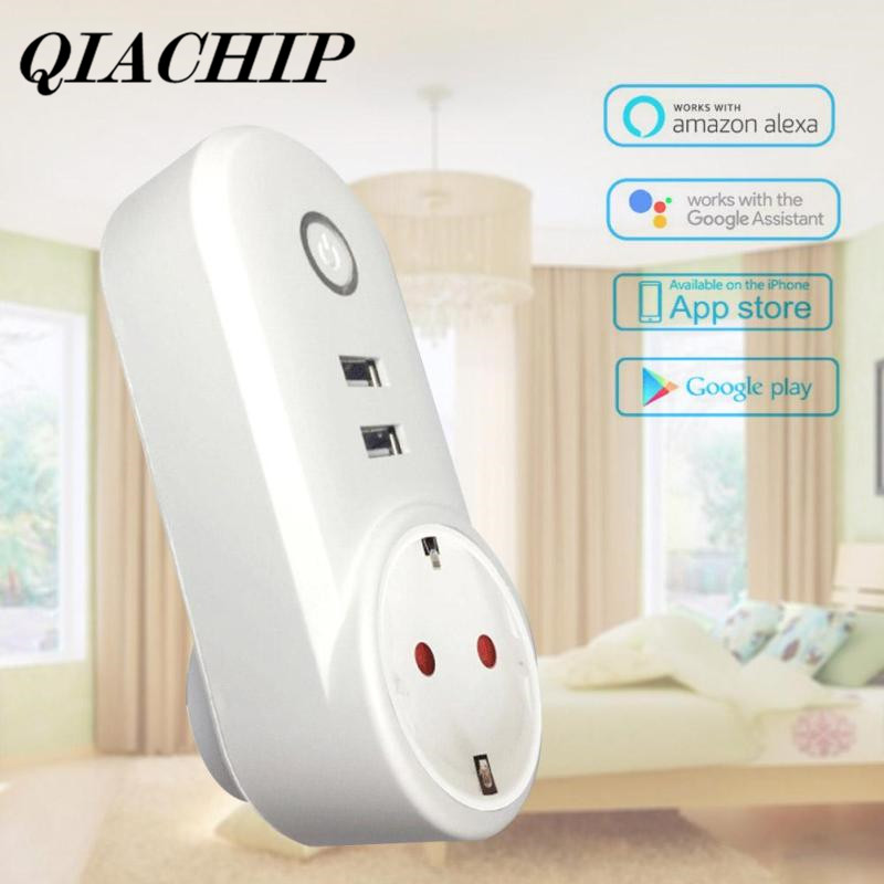 QIACHIP Wireless Wifi Power Smart Home Socket Outlet Switch Remote Control Work With Amazon Alexa Voice Control F ac 110v 220v wifi smart outlet power socket app wireless remote control timer switch support amazon alexa voice control us plug
