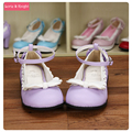 Japanese Sweet Bow Princess Shoes Mori Girl Kawaii Lolita Shoes with Lace Trim
