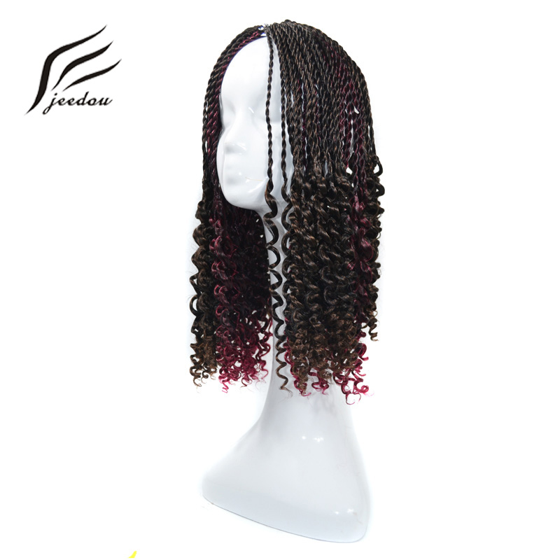 jeedou Synthetic Braiding Hair Spring Twist 14 90g Lot Black Burgundy Frosted Color Crochet Braids Hair