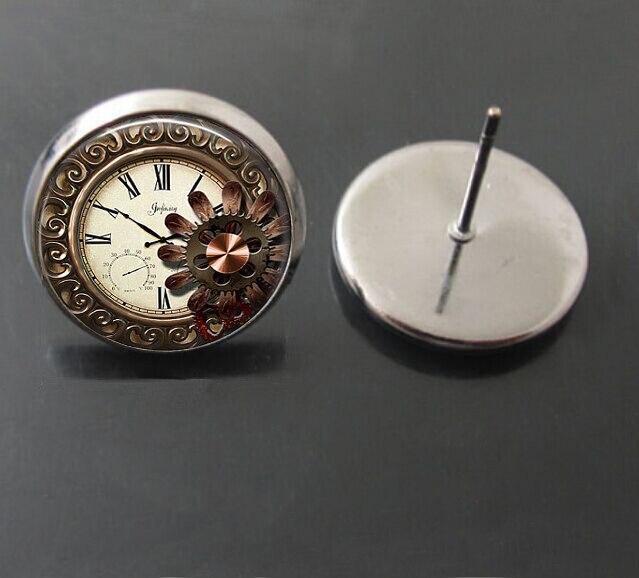 hot steampunk style earring glass cabochon earrings punk Ancient bell art picture earrings jewelry 100 handmade