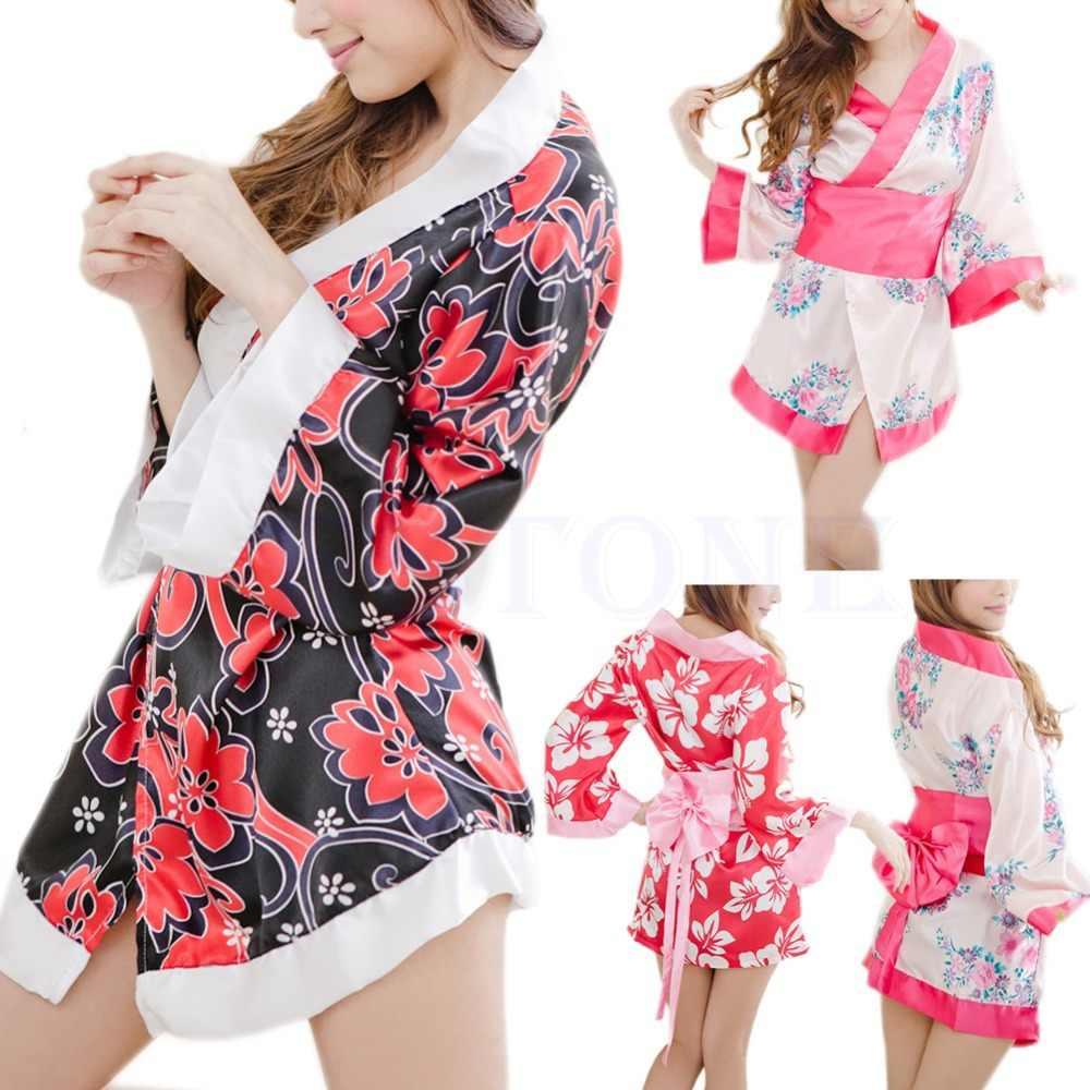 e374813ac6 ... Sexy Sexy Floral Japanese Kimono Stage Sleepwear Lingerie Dress Bath  Robe Paja ma ...