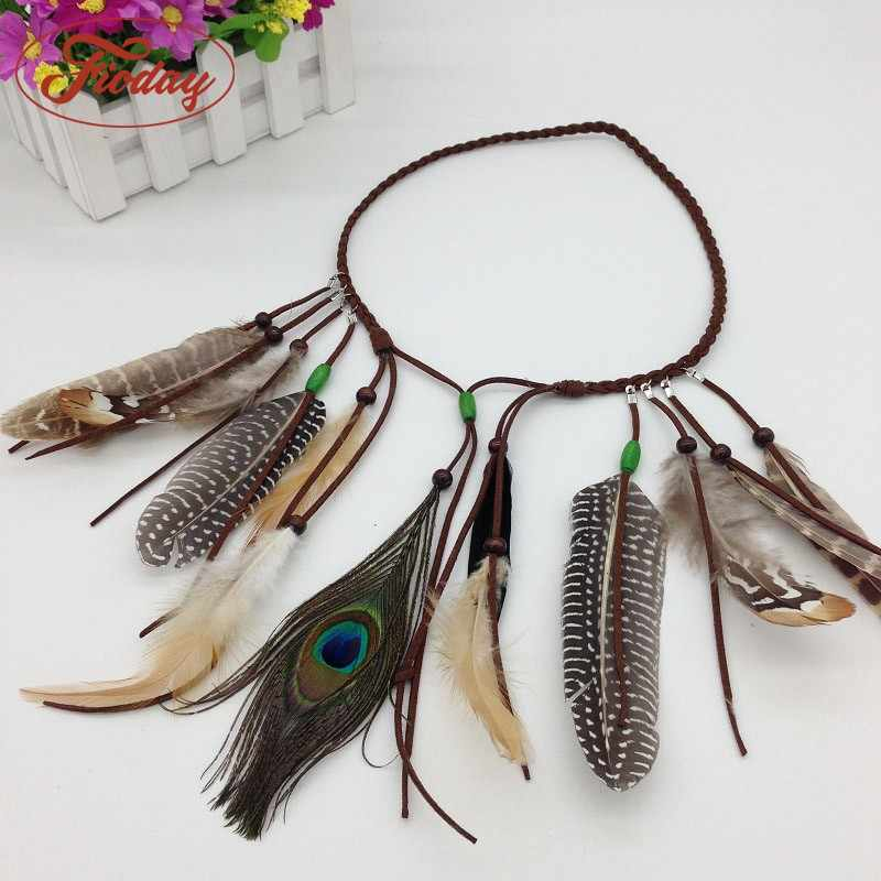Fioday Folk Hairgrips Feather Hairband for Womens Bohemian Tassel Hair Comb Headwear Boho Headband Hair Accessories DropShipping
