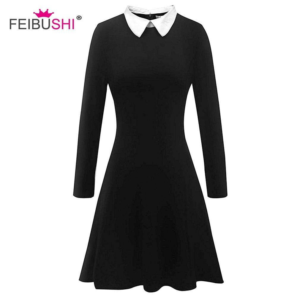FEIBUSHI Black Dress Winter Cute Peter School Preppy Style Dresses Long Sleeve Brand White Pan Collar Ladies Office Vestidos