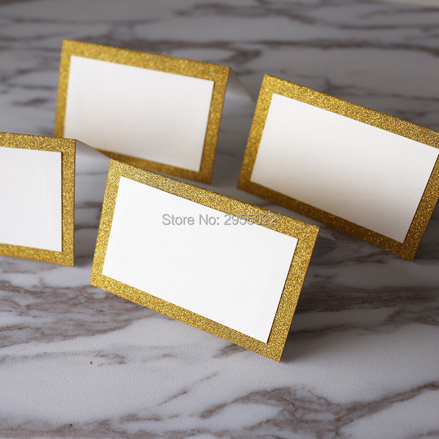30pcs Size Blank Glitter Gold Place Cards Table For Party Elegant
