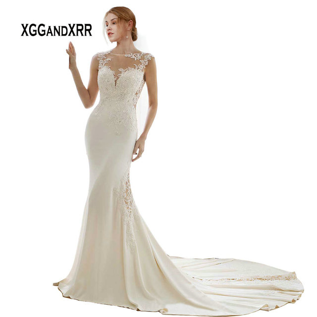801f4aa29fc Elegant Mermaid Long Lace Wedding Dress 2019 Sexy Illusion Back with Button  Count Train Lace Applique Satin White Bridal Gown