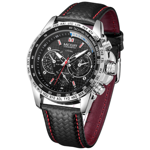 MEGIR Mens Watches Top Brand Luxury Quartz Watch Men Fashion Casual Luminous Waterproof Clock  Relogio Masculino 1010