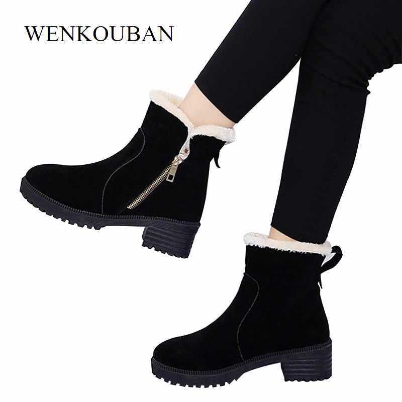 e03f421ec Замшевые ботинки на платформе, женские зимние Ботинки, Ботильоны на среднем  каблуке, женская теплая