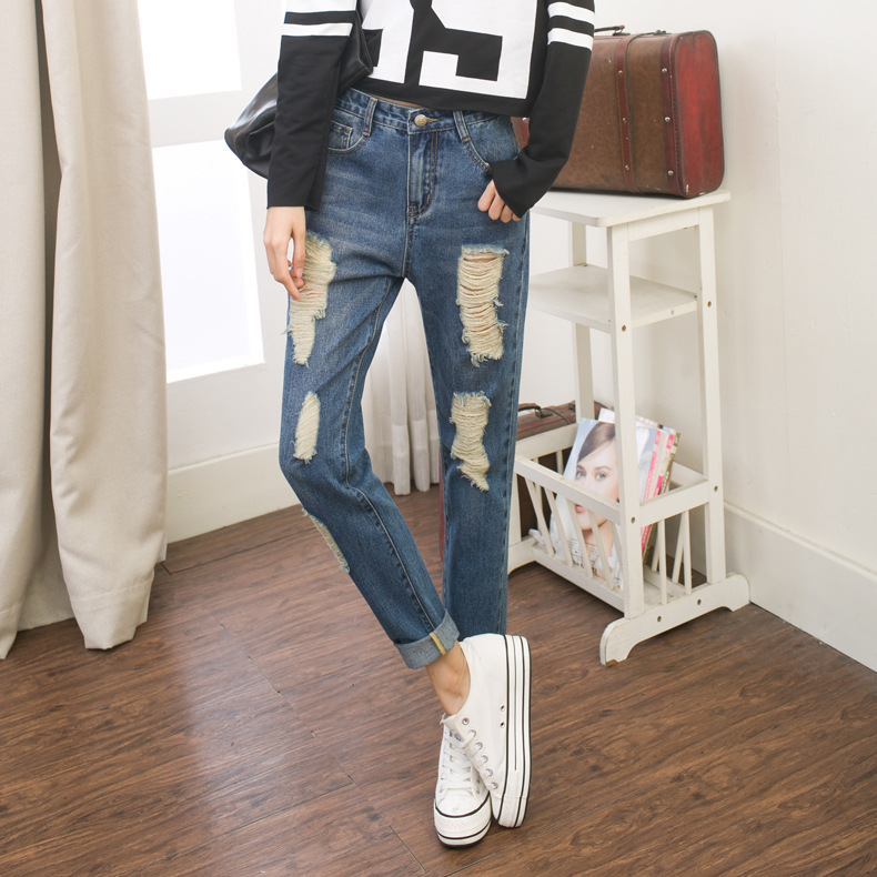 waisted denim trousers worn on behalf of Korean female students to the new spring and summer 2016 slim baggy jeans