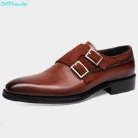 QYFCIOUFU/Роскошные брендовые Классические Мужские модельные туфли с ремешком в виде монаха из натуральной кожи черного и коричневого цвета, св