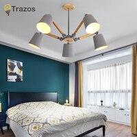 TRAZOS Macaron LED Chandeliers For Living Room Bedroom Kids room Wooden Chandelier candelabro Indoor Hanging Lamp lampadario led