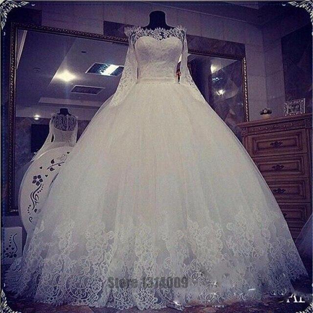 4eaa02950 Princesa de Manga Larga de Cuello Barco Vestidos de Boda Turquía Ata Para  Arriba Detrás Regular